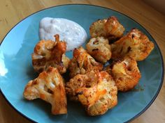"Cauliflower ""Hot Wings"" With Greek Yogurt Dip 