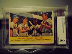 1958 Topps Braves Fence Busters Crandall/Mathews/Aaron/Adcock #351 Card Graded #Braves