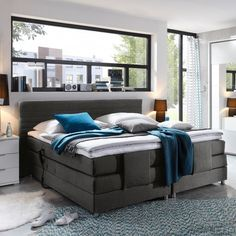 xxl roma boxspringbett mit bettkasten designer boxspring bett led schneeweiss rechteck design. Black Bedroom Furniture Sets. Home Design Ideas