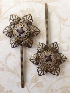 Steampunk inspired hair accessories   set of 2 by jayedesigns