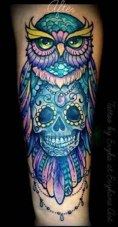 more colorful owl with cherry blossoms right shoulder tattoo inspiration pinterest cherry. Black Bedroom Furniture Sets. Home Design Ideas