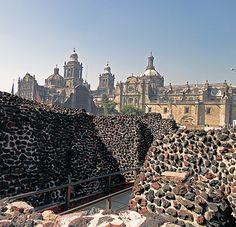 Templo Mayor, el templo principal de la poderosa capital azteca de Tenochtitlán , ahora un museo .