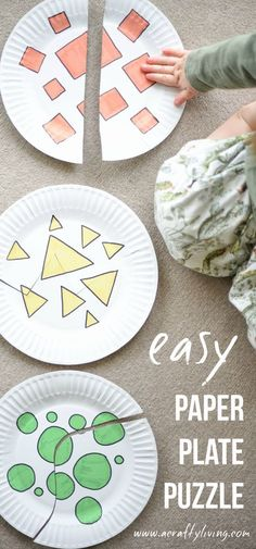 Easy Colour & Shape Recognition Paper Plate Puzzle for Toddlers & Preschoolers! http://www.acraftyliving.com