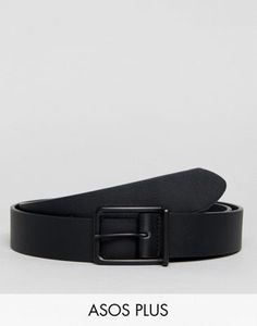 d586382fdedac4 ASOS PLUS Wide Faux Leather Belt In Black With Matte Black Buckle Asos  Plus