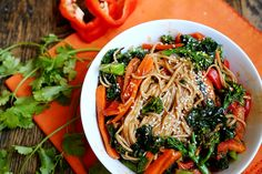Fresh Vegetables Soba Noodle Salad with Kale and Sesame Dressing- I don't like peppers, so I'll probably leave those out... otherwise, YUM!