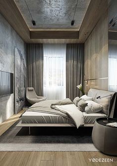 Mens Bedroom Design Small Space New Cool Masculine Bedroom for Mens Gray Colors with Curtain for Master Bedroom Design, Home Decor Bedroom, Bedroom Ideas, Bedroom Bed, Master Bedrooms, Trendy Bedroom, Modern Bedroom, Bedroom Black, Contemporary Bedroom