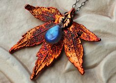 Autumn Fire Labradorite and Real Maple Leaf Necklace by Circe's House on Etsy