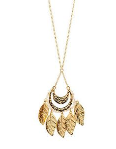 Beaded Leaf Pendant Necklace: Charlotte Russe