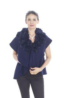 Acyrlic Vest With Rabbitt Pom Pom Trim