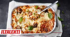 Lihapulla-pastavuoka on loistava koko perheen arkiruoka. Mashed Potatoes, Cauliflower, Pasta, Vegetables, Ethnic Recipes, Waiting, Food, Smash Potatoes, Head Of Cauliflower