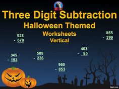 Three-Digit Subtraction Math Worksheets - 15 Pages (Vertical)  This is a packet of 15 three-digit subtraction worksheets.   Each page has a different Halloween clip art decorating it. They can be used as extra practice or as basic assessments. by Ryan Nygren - PPT template by www.fppt.info