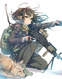 Anime Girl With A Big Dog And Bigger Gun Not Mine