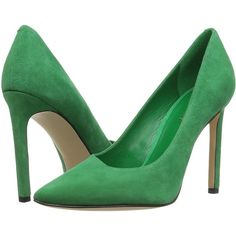 Nine West Tina (Green Suede) Women's Shoes ($52) ❤ liked on Polyvore featuring shoes, pumps, green, nine west pumps, nine west shoes, slip-on shoes, green pumps and suede shoes