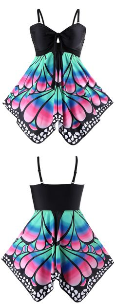 Plus Size Butterfly Print Skirted Blouson Tankini