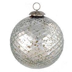Clayre & Eef Kerstbal van glas. Diameter 12 cm.