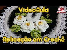 Aplicação em crochê: flor enrolada , botão e folha (Reupload) - YouTube