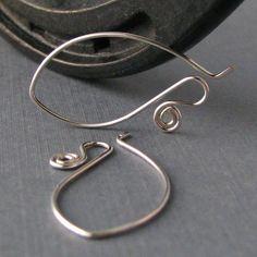 Interchangeable Silver Filled Ear Wires, Long Spiral Elfaerie, Handmade Jewelry Findings by Rocki Adams