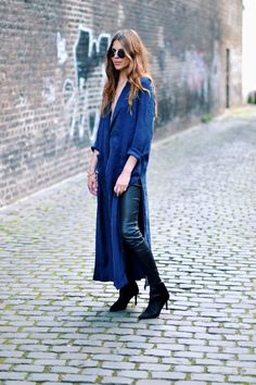 For The Cowgirl In Me: Duster cardigan, leather pants, & boots Denim Fashion, Runway Fashion, Boho Fashion, Autumn Fashion, Womens Fashion, Fashion Trends, Fashion Bloggers, Fashion Styles, Fashion Ideas