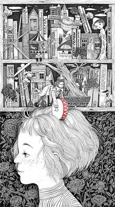 Black and white illustration of a girl