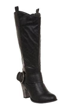 Torrid Plus Size Iris Black Buckle Heel Boots (Wide Width): Amazon.com: Clothing