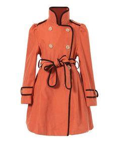 Orange Flared Trench Coat - Girls by Richie House #zulily #zulilyfinds