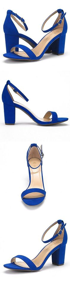 DREAM PAIRS CHUNK Women's Evening Dress Low Chunky Heel Open Toe Ankle Strap Stiletto Wedding Pumps Sandals Royal-Blue Size 8