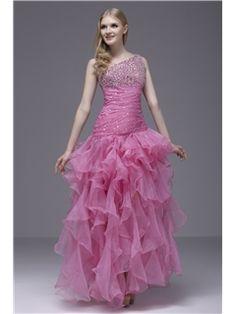 Glamorous Ankle-Length One-Shoulder Ruffles Sasha's Evening/Prom Dress