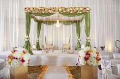 Indoor mandap with floral design!