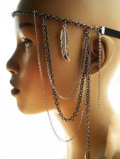 African Hair Jewelry | Afriquelachic - Native Goddess Chain Headband Headdress