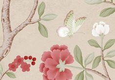 florent printed chinoiserie wallpaper in english rose