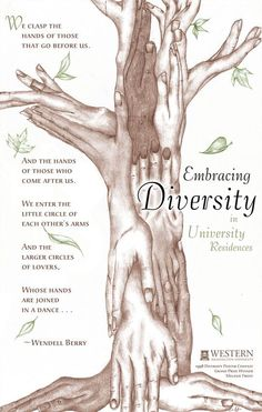 Embracing Diversity  We clasp the hands of those that go before us. And the hands of those who come after us. We enter the little circle of each other's arms And the larger circles of lovers, Whose hands are joined in a dance. ~ Wendell Berry