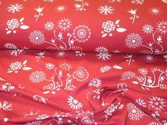 Stoff Tiermotive - Jersey *Sewing Flowers* ROT v. PattyDoo - ein Designerstück von Nordlicht-Stoffe bei DaWanda