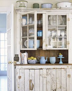 Cupboard...that I LOVE!!! Budget French Country Decorating | Farmhouse Style - Rustic Home Decor - Country Living