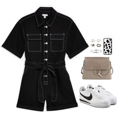 A fashion look created by looksbyblanca featuring Onyx Tiny Hand Ring, diamond crown mid finger ring, Diamond LOVE Bracelet, Leather Cortez Sneakers. Browse and shop related looks. Stage Outfits, Edgy Outfits, Fashion Outfits, Fashion Killa, Pop Fashion, Fashion Looks, Polyvore Outfits, Polyvore Fashion, Outing Outfit