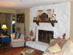 painting a rock fireplace - Google Search