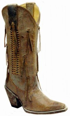 Corral Boots - Ladies Distressed Brown With Tassels R2553*