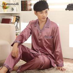 Pajamas For Men Spring and Autumn Thin Silk Satin Solid Sleepwear Cardigan father Mens Pyjamas Men's Sleep Lounge Pajama Sets