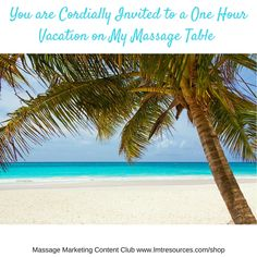 You are Cordially Invited to a One Hour #Vacation on My Massage Table  Join the…