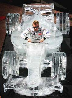 Iceman Kimi Räikkönen in an ice formula car