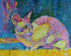 Cat painting Fine art painting Cat portrait by by TanabeStudio