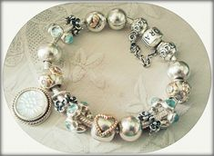 PANDORA Bracelet with Fresh Icy Blue and Silver. Beautiful!