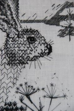 blackwork+rabbit. This piece emulates the the free-flowing ideas of a sketchbook, of drawing itself, but look closely at how finely done all the stitches are... a real artist at work