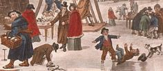"A frost fair on the Thames (copyright City of London Museum). I love this detail from a painting of the 1814 Frost Fair, showing two children testing their ""ice skating"" prowess. It inspired one scene in General Well'ngone In Love, one of my short Ezra Melamed mysteries."