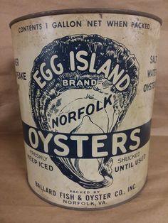 Ballard 1 Gallon Oyster Tin Can Egg Island Pre-War #Ballard