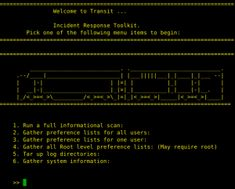 Transit is a MacOS Incident Response toolkit. Transit can pull the following information from a system. 1. Well return a series of information about the system itself. 2. This option will return the plists for all users 3. Option 3 will return plists for one user