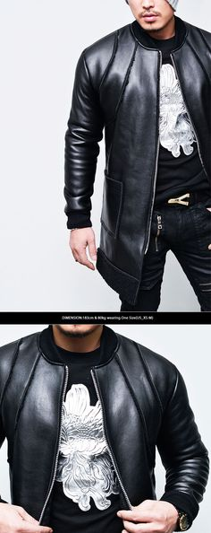 Outerwear :: Claw Seaming Leather Long shearling Jacket-Leather 77 - Mens Fashion Clothing For An Attractive Guy Look