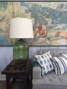 Love the lamp. Corner of a living room designed by Steve Gambrel in Sag Harbor in the Hamptons.