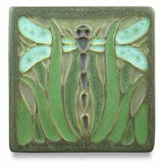 Meadow Dragonfly tile - Ephraim Faience Pottery, WI