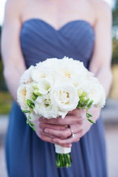All White Bridesmaids Bouquet | photography by http://megperotti.com/