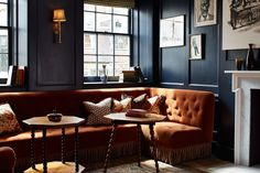 Soho House 76 Dean Street - Love the blue and burn orange.